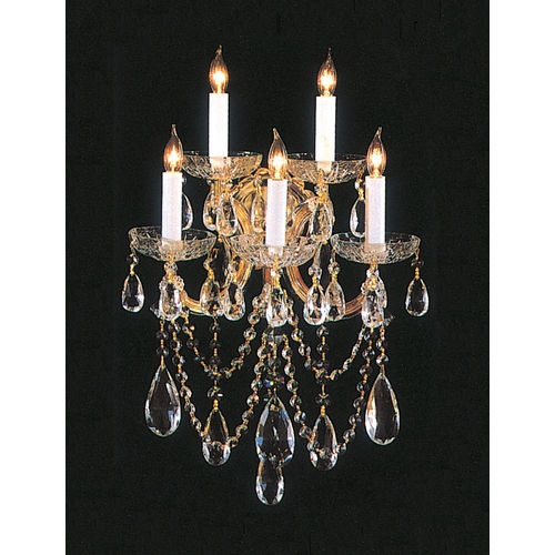 Crystorama Lighting Crystal Sconce Wall Light in Gold Finish 4425-GD-CL-S