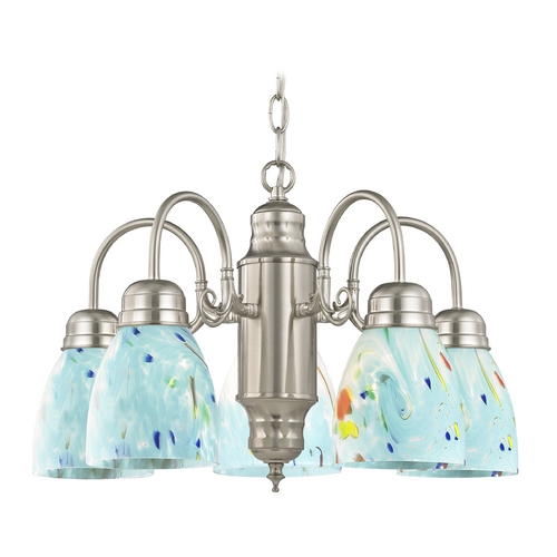 Design Classics Lighting Mini-Chandelier in Satin Nickel Finish 709-09 GL1021MB