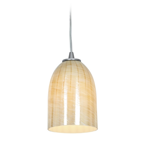 Access Lighting Access Lighting Janine Inari Silk Brushed Steel Mini-Pendant Light 28018-1C-BS/WAMB