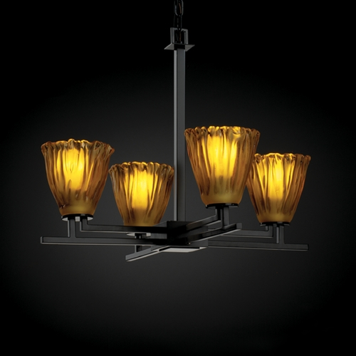 Justice Design Group Justice Design Group Veneto Luce Collection Chandelier GLA-8700-56-AMBR-MBLK