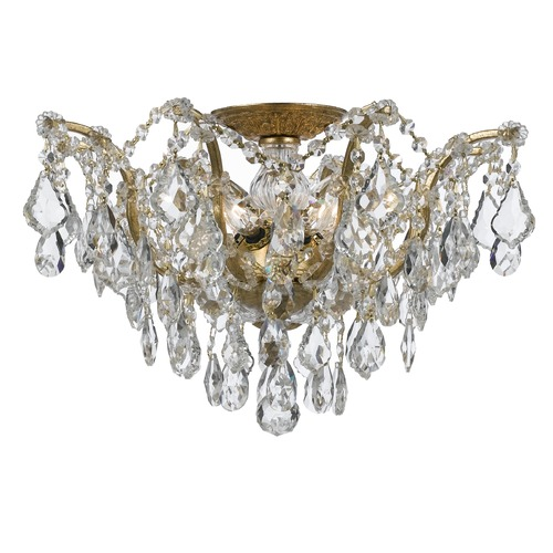 Crystorama Lighting Crystorama Lighting Filmore Antique Gold Semi-Flushmount Light 4457-GA-CL-S