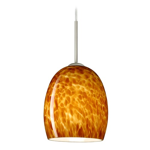 Besa Lighting Besa Lighting Lucia Satin Nickel LED Mini-Pendant Light with Bell Shade 1JT-169718-LED-SN