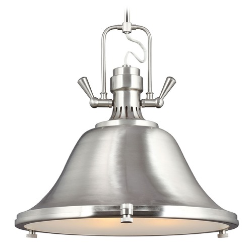 Sea Gull Lighting Sea Gull Lighting Stone Street Brushed Nickel Pendant Light with Bowl / Dome Shade 6514403BLE-962