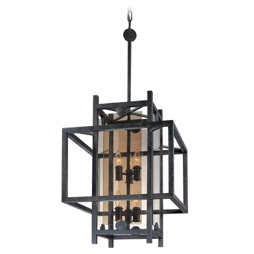 Troy Lighting Pendant Light with Clear Cage Shades in French Iron Finish F2493FI
