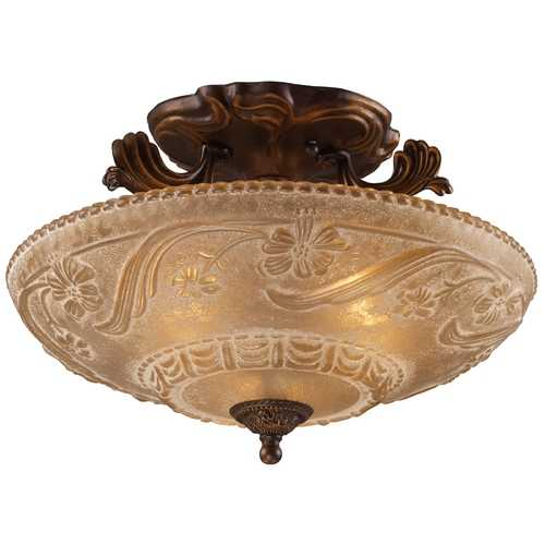 Elk Lighting Semi-Flushmount Light with Amber Glass in Golden Bronze Finish 08101-AGB