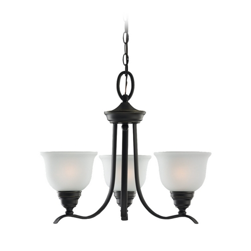 Sea Gull Lighting Chandelier with White Glass in Heirloom Bronze Finish 31625BLE-782