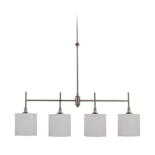 Sea Gull Lighting Drum Island Light with White Shades in Brushed Nickel Finish 66952-962