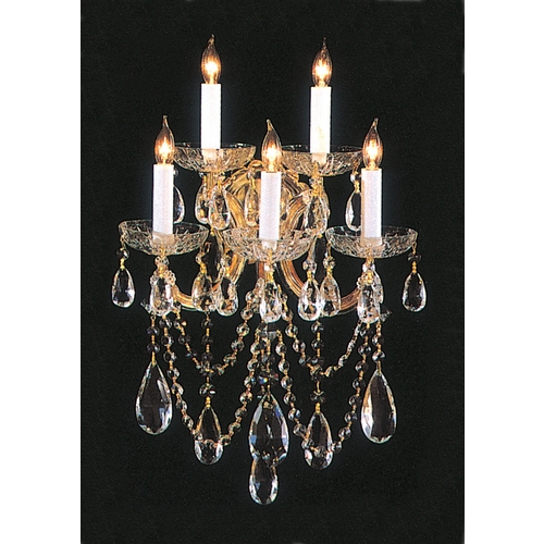 Crystorama Lighting Crystal Sconce Wall Light in Gold Finish 4425-GD-CL-SAQ