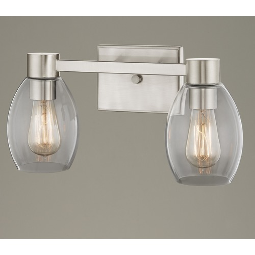 Design Classics Lighting 2-Light Clear Glass Bathroom Light Satin Nickel 2102-09 GL1034-CLR