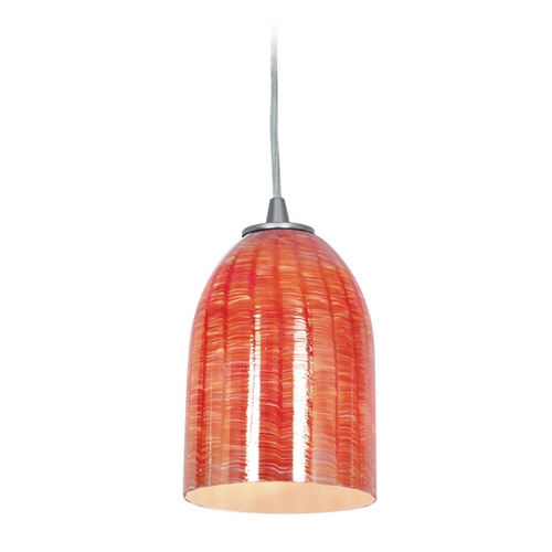Access Lighting Access Lighting Janine Inari Silk Brushed Steel Mini-Pendant Light 28018-1C-BS/WRED