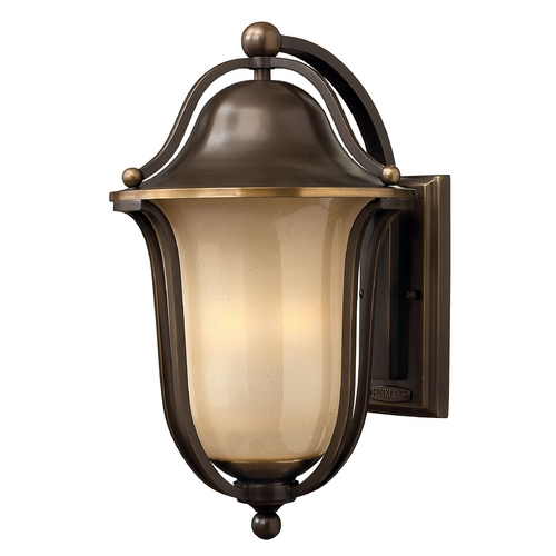 Hinkley Lighting Outdoor Wall Light with Amber Glass in Olde Bronze Finish 2635OB-GU24