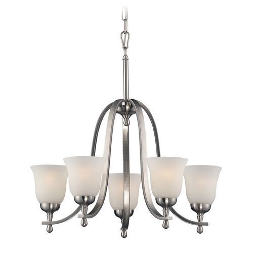Elk Lighting Chandelier with White Glass in Brushed Nickel Finish 17146/5
