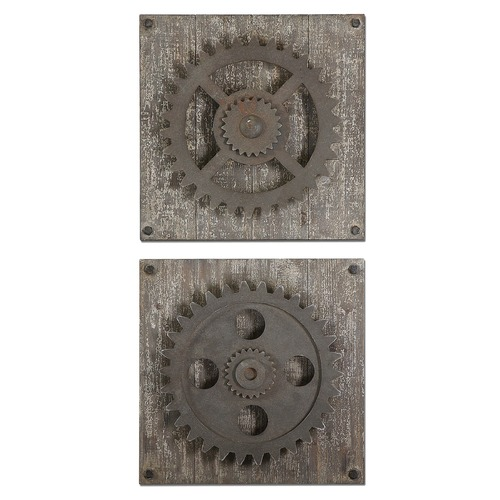 Uttermost Lighting Uttermost Rustic Gears Wall Art, Set of 2 13828