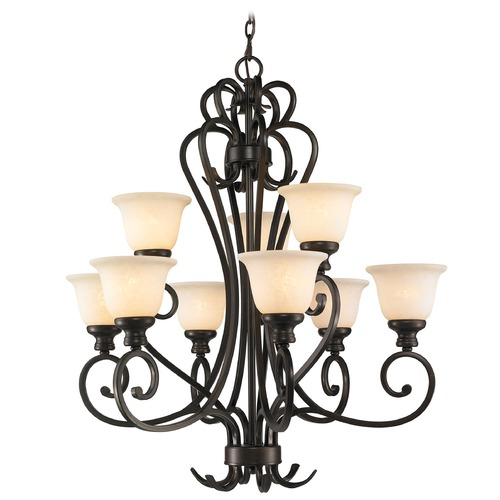 Golden Lighting Golden Lighting Heartwood Burnt Sienna Chandelier 8063-9 BUS