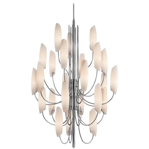 Kichler Lighting Kichler Modern Chandelier with White Glass in Chrome Finish 42214CH