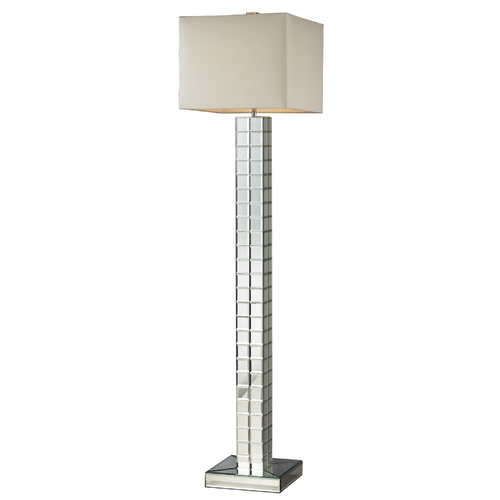 Elk Lighting Modern Floor Lamp with White Shade in Clear Finish D2166
