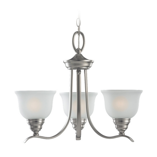 Sea Gull Lighting Chandelier with White Glass in Brushed Nickel Finish 31625BLE-962