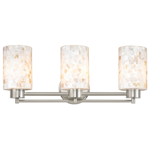 Bathroom Lighting Fixtures Brushed Nickel bathroom light with mosaic glass in satin nickel finish | 703-09