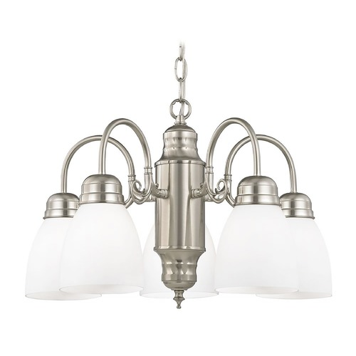 Design Classics Lighting Mini-Chandelier with White Glass in Satin Nickel Finish 709-09 GL1024MB