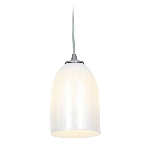 Access Lighting Access Lighting Janine Inari Silk Brushed Steel Mini-Pendant Light 28018-1C-BS/WWHT