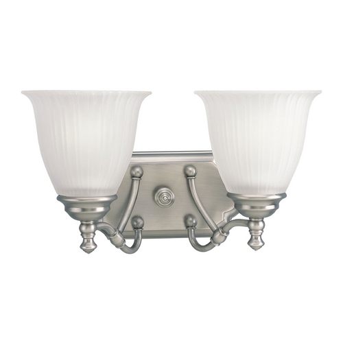 Progress Lighting Progress Bathroom Light with White Glass in Antique Nickel Finish P2730-81