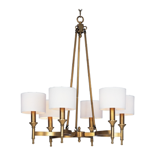 Maxim Lighting Chandelier with White Shades in Natural Aged Brass Finish 22375OMNAB