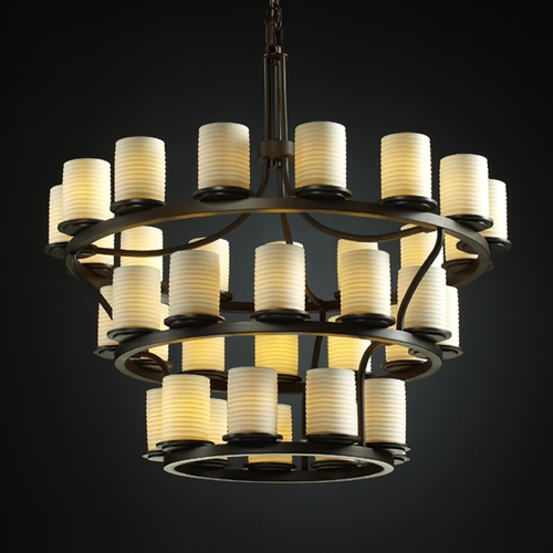 Justice Design Group Justice Design Limoges 3-Tier 36-Light Chandelier in Dark Bronze POR-8713-10-SAWT-DBRZ