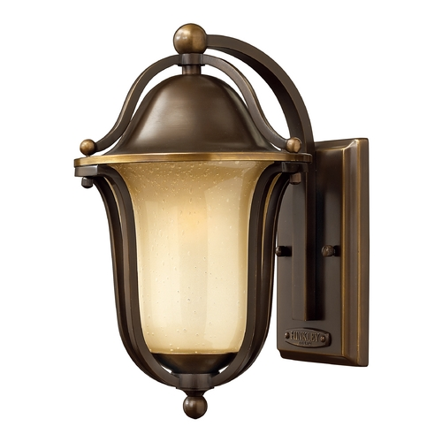 Hinkley Lighting Outdoor Wall Light with Amber Glass in Olde Bronze Finish 2630OB