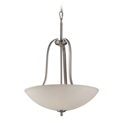 Elk Lighting Pendant Light with White Glass in Brushed Nickel Finish 17142/3