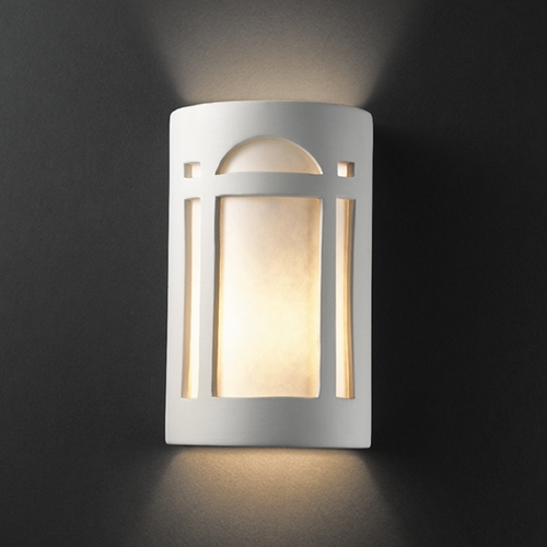 Justice Design Group Sconce Wall Light with White in Bisque Finish CER-5395-BIS