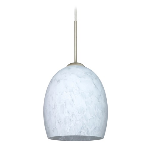 Besa Lighting Besa Lighting Lucia Satin Nickel LED Mini-Pendant Light with Bell Shade 1JT-169719-LED-SN