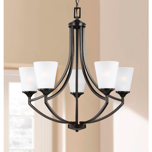 Sea Gull Lighting Hanford Bronze 5 Lt. Chandelier with Etched White Glass 3124505-710