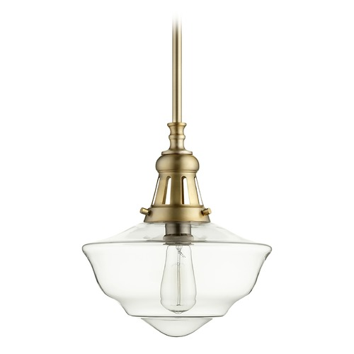 Quorum Lighting Quorum Lighting Aged Brass Pendant Light with Bowl / Dome Shade 801-12-80