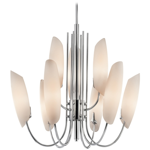 Kichler Lighting Kichler Modern Chandelier with White Glass in Chrome Finish 42213CH