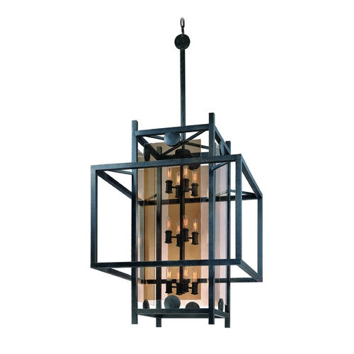 Troy Lighting Pendant Light with Clear Cage Shades in French Iron Finish F2495FI
