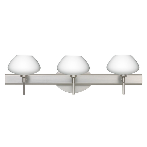Besa Lighting Modern Bathroom Light with White Glass in Satin Nickel Finish 3SW-541007-SN