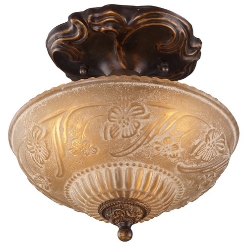 Elk Lighting Semi-Flushmount Light with Amber Glass in Golden Bronze Finish 08103-AGB