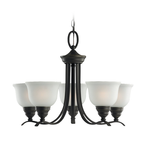 Sea Gull Lighting Chandelier with White Glass in Heirloom Bronze Finish 31626-782