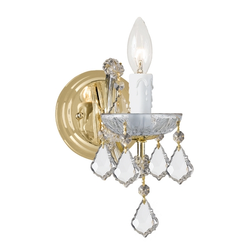 Crystorama Lighting Crystal Sconce Wall Light in Gold Finish 4471-GD-CL-S