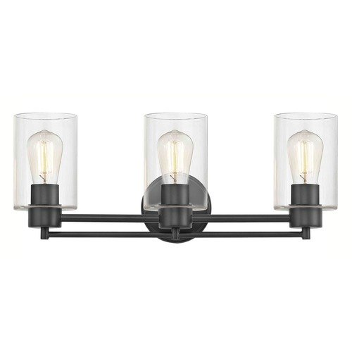 Design Classics Lighting Industrial Clear Glass Bathroom Light Black 3 Lt 703-07 GL1040C