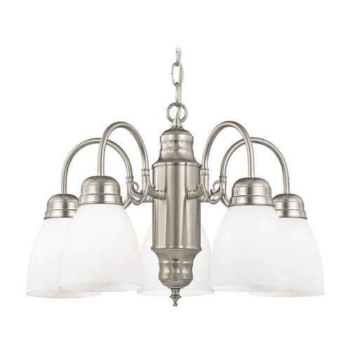 Design Classics Lighting Mini-Chandelier with White Glass in Satin Nickel Finish 709-09 GL1028MB