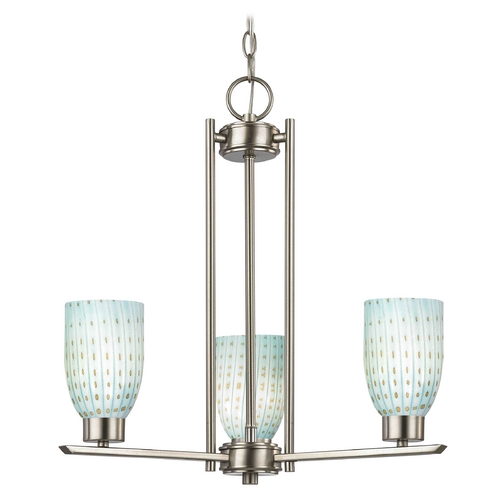 Design Classics Lighting Chandelier with Blue Art Glass in Satin Nickel Finish - 3-Lights 1121-1-09 GL1003D