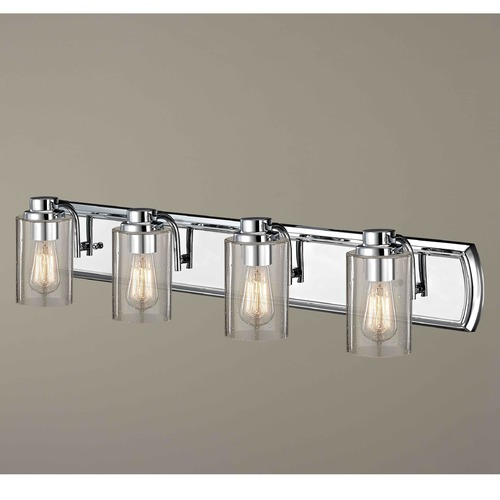 Design Classics Lighting Industrial Seeded Glass Bathroom Light Chrome 4 Lt 1204-26 GL1041C