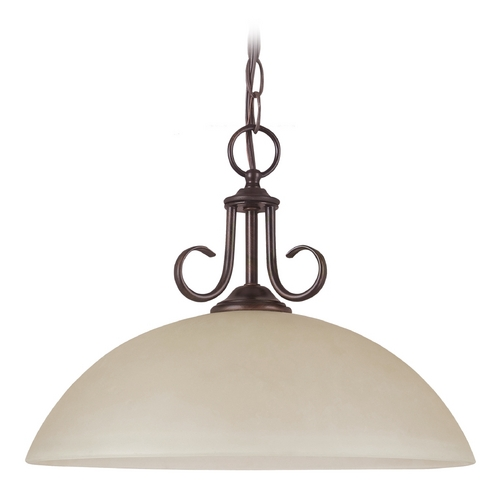 Sea Gull Lighting Pendant Light with Beige / Cream Glass in Burnt Sienna Finish 65316-710