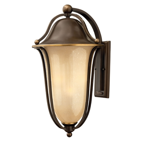 Hinkley Lighting Light Amber Seeded Glass Outdoor Wall Light Bronze Hinkley Lighting 2639OB-GU24