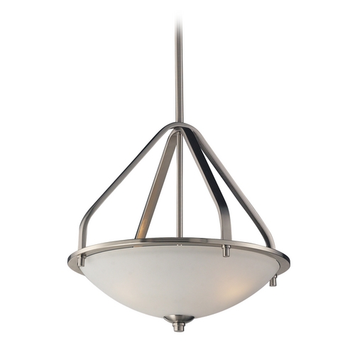 Elk Lighting Pendant Light with White Glass in Brushed Nickel Finish 17143/3