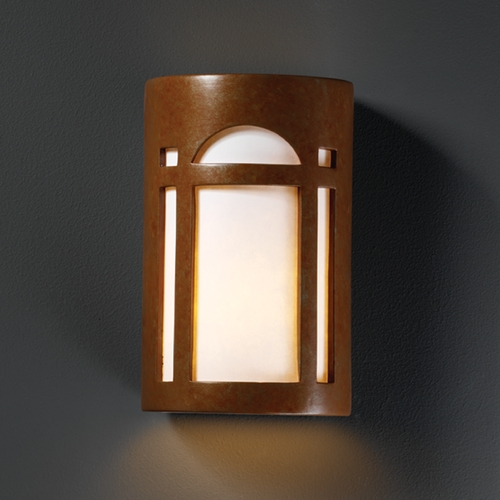 Justice Design Group Sconce Wall Light with White in Rust Patina Finish CER-5395-PATR