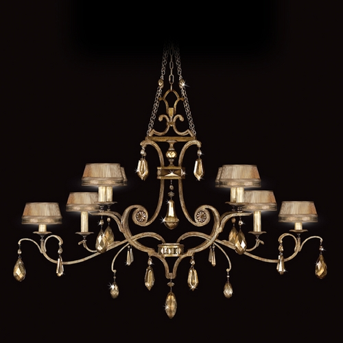 Fine Art Lamps Fine Art Lamps Golden Aura Aged Gold Patina Crystal Chandelier 755440ST