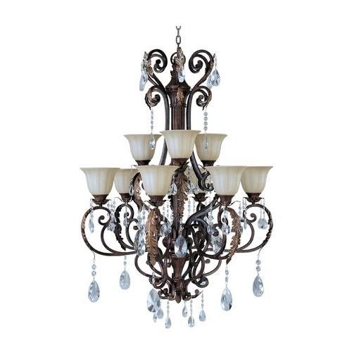 Maxim Lighting Crystal Chandelier with Beige / Cream Glass in Auburn Florentine Finis 13566CFAF/CRY080