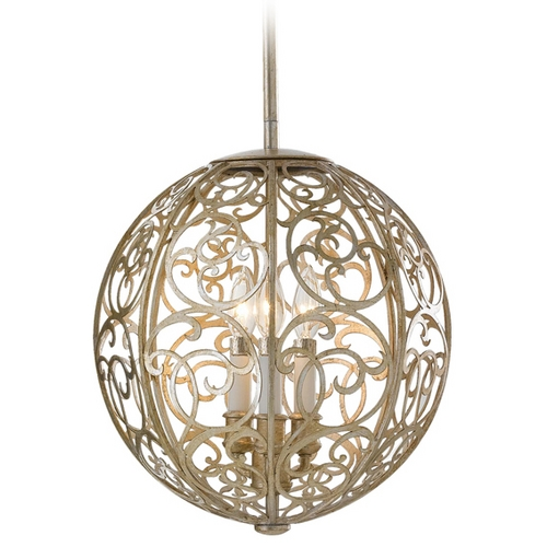 Feiss Lighting Pendant Light in Silver Leaf Patina Finish F2538/3SLP